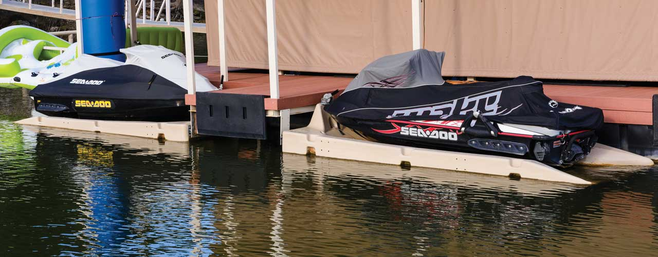 Jet Ski Dockong attached to floating dock